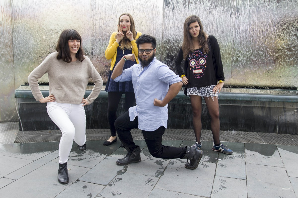 A group photo of the second set of interns at Rife Magazine, from left to right: Sammy Jones, Jess Connett, Shamil Ahmed and Molly Perryman