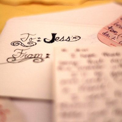 Handwritten note, saying 'To Jess'