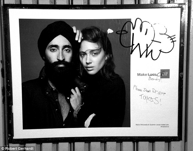 Sikh model Waris Ahluwaliya GAP promotional fashion poster defaced with racial slurs relating to terrorism and Islam