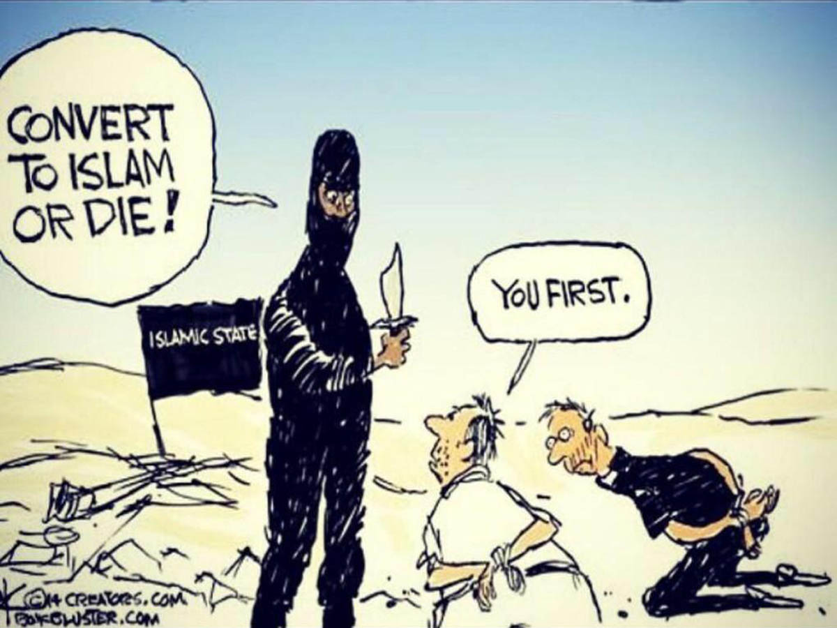 "ISIS member forcing hostage to: ""Convert to Islam or Die!"" and hostage replies wittily: ""you first!"""