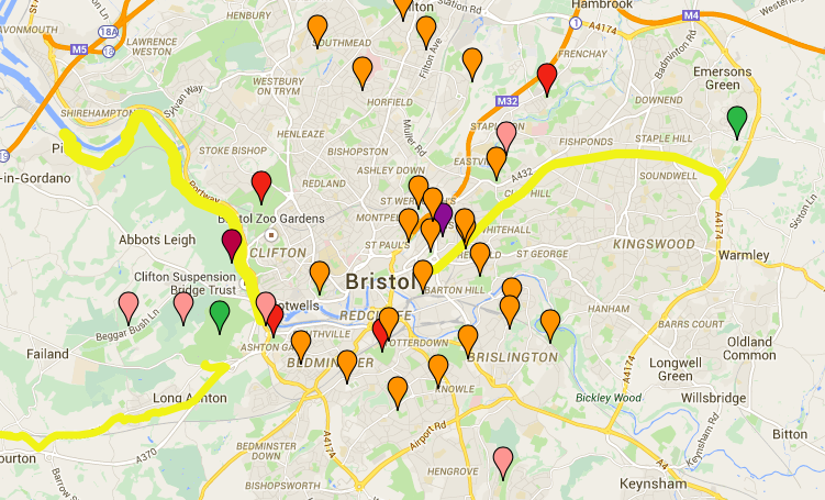 Map of Bristol showing exercise locations