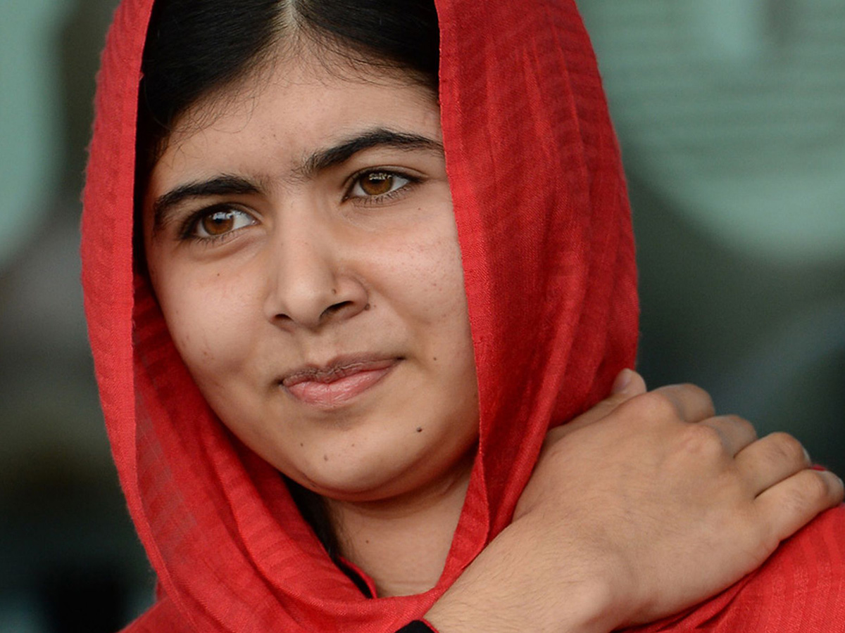 Malala in a red hood