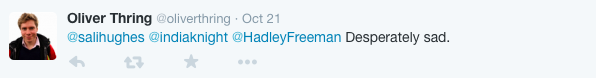 'desperately sad' tweet