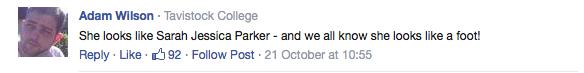 'She looks like SJP' Facebook comment