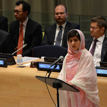 Malala speaking at the UN