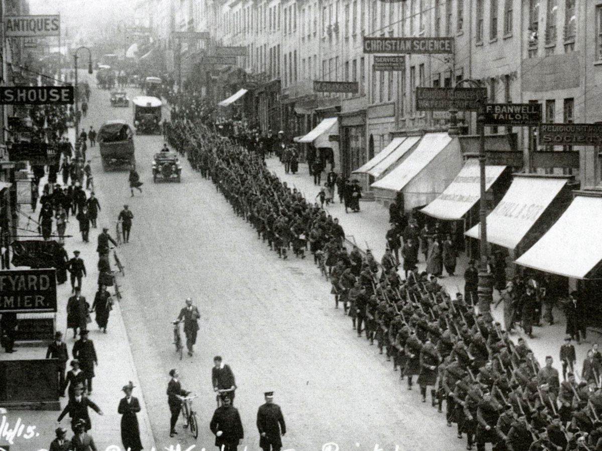 Soldiers march down Park Street in Bristol