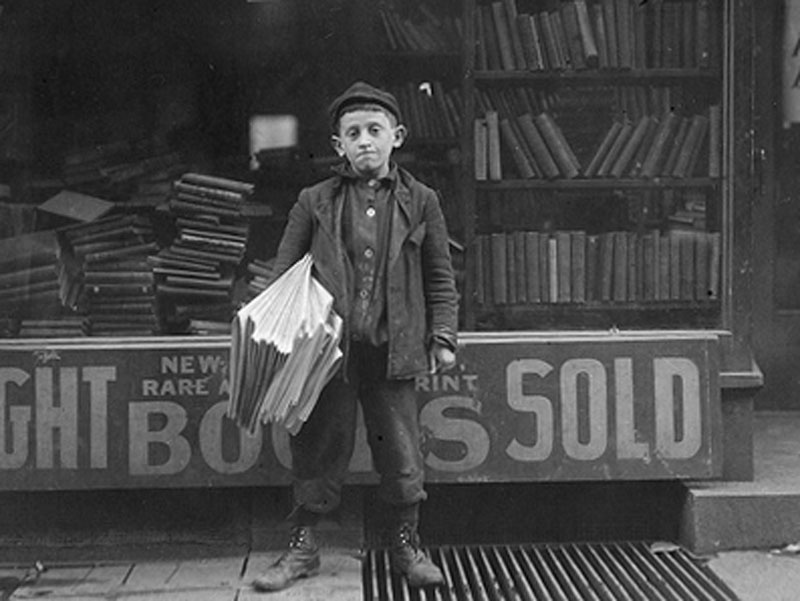 13 year-old newspaper seller from 1909
