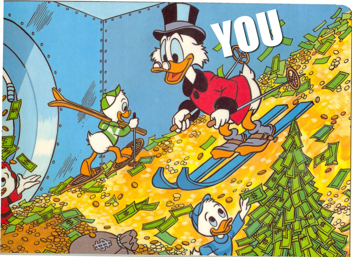 Scrooge skiing in his own mountain of money