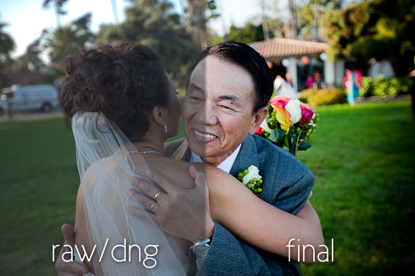 An image of a man hugging a bride of a wedding, with the image showing what it looked like before and after editing