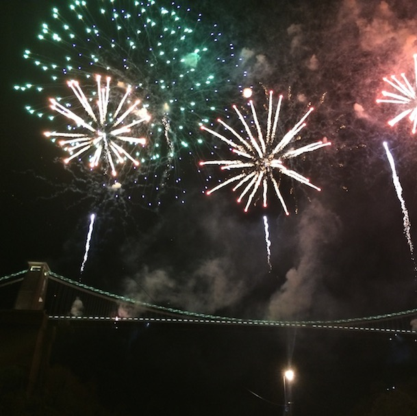 Huge fireworks explode above the Suspension Bridge