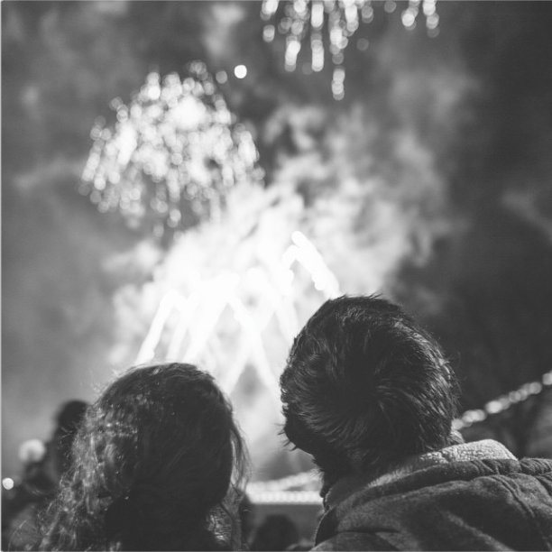A couple watches the fireworks