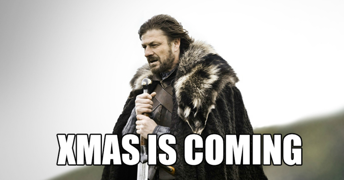 A picture of Sean Bean in 'The game of thrones' captioned: Xmas Is Coming