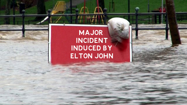 A flood warning sign in deep water
