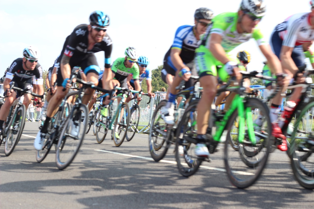 Cyclists on The Downs at the Tour of Britain