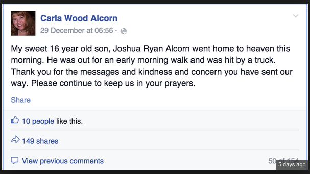 A Facebook post by Leelah's mother, referring to her as a son