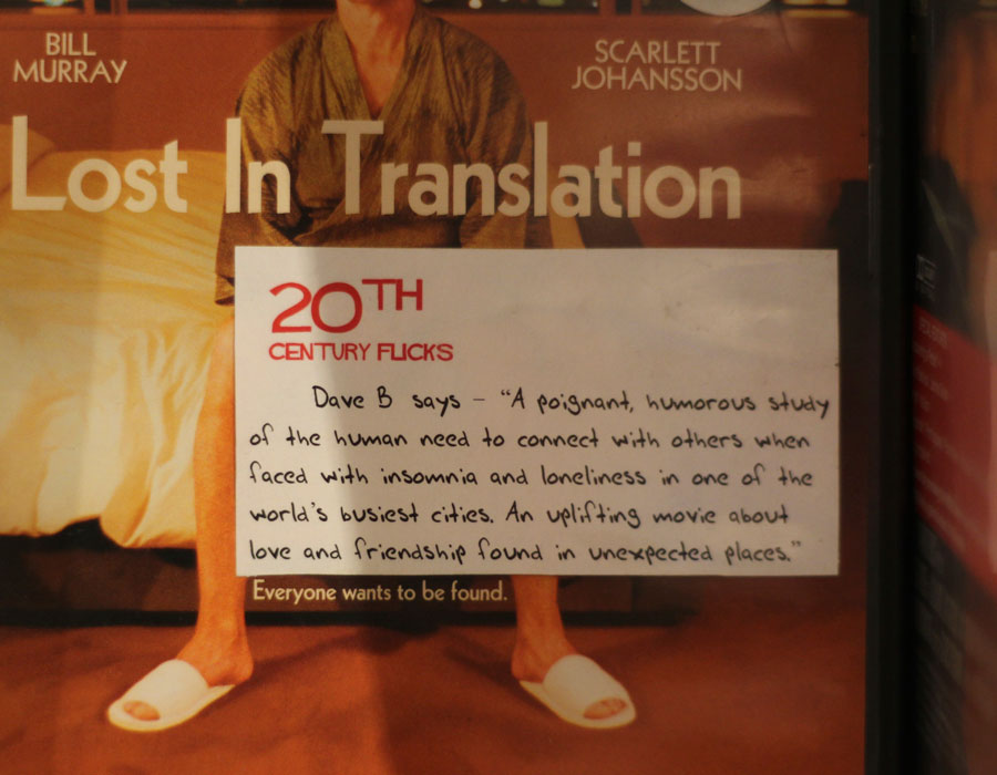 A handwritten review of the film 'Lost in Translation'