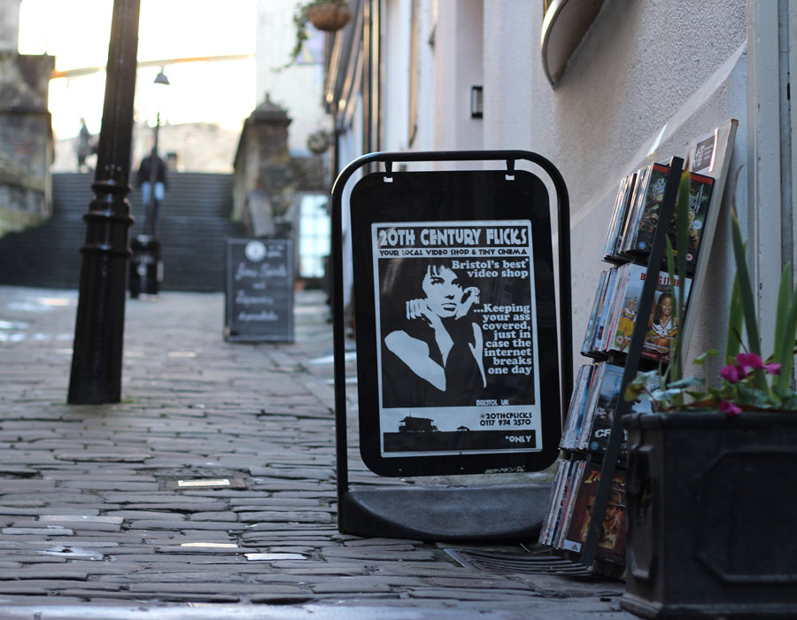 The 20th Century Flicks sign in Christmas Steps
