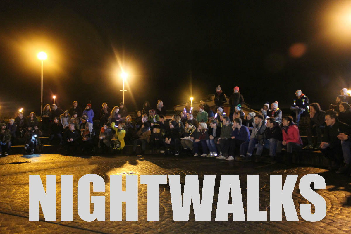 A huge bunch of people enjoying the night walks performance.