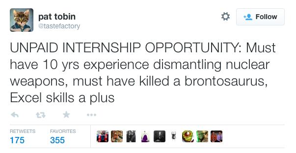 Internship tweet