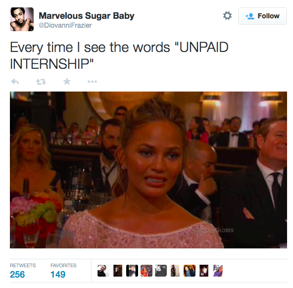 Unpaid Internship grimace face tweet