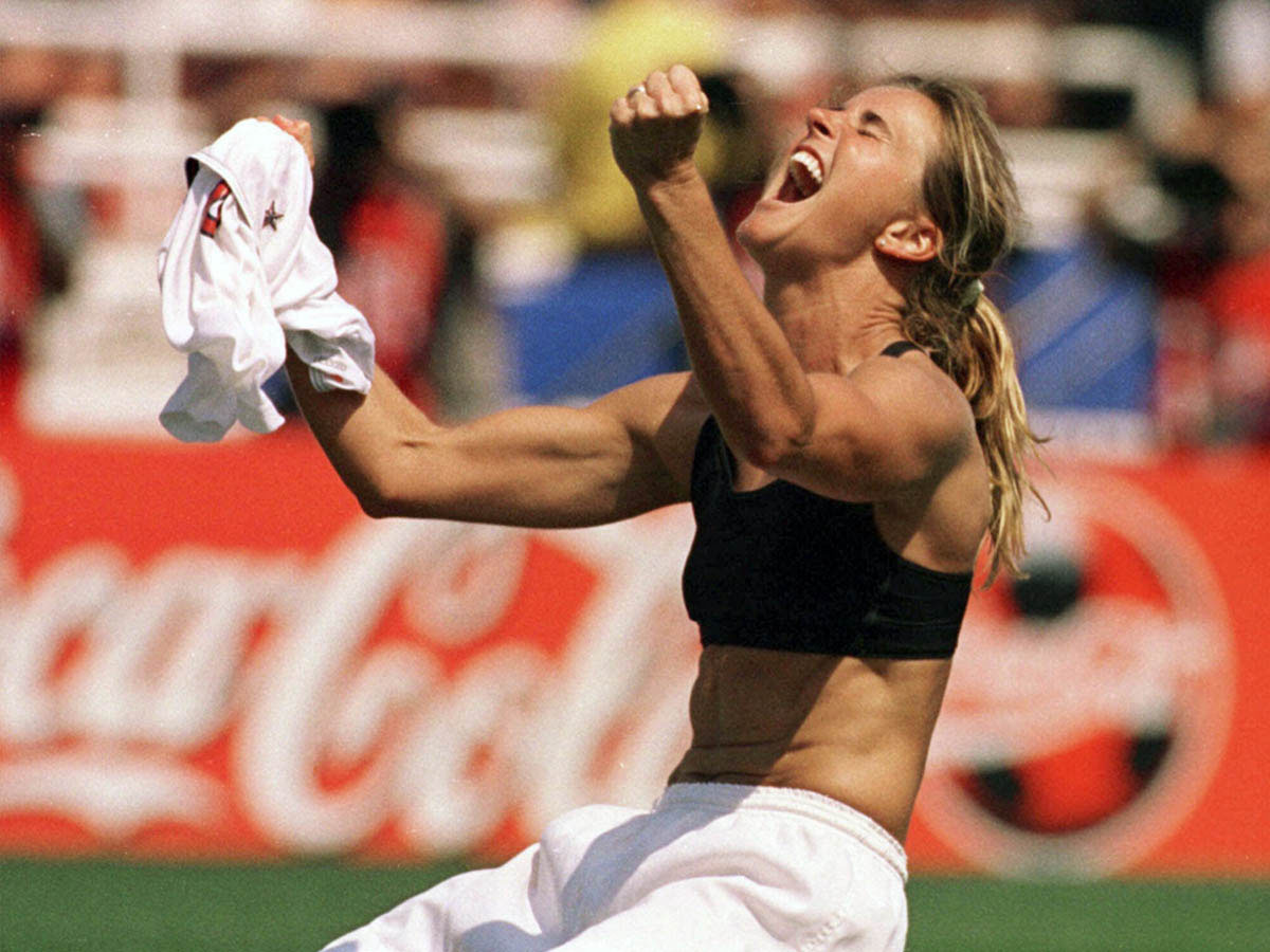 Brandi Chastain after scoring the winning girl in the Women's World Cup final, 1999.