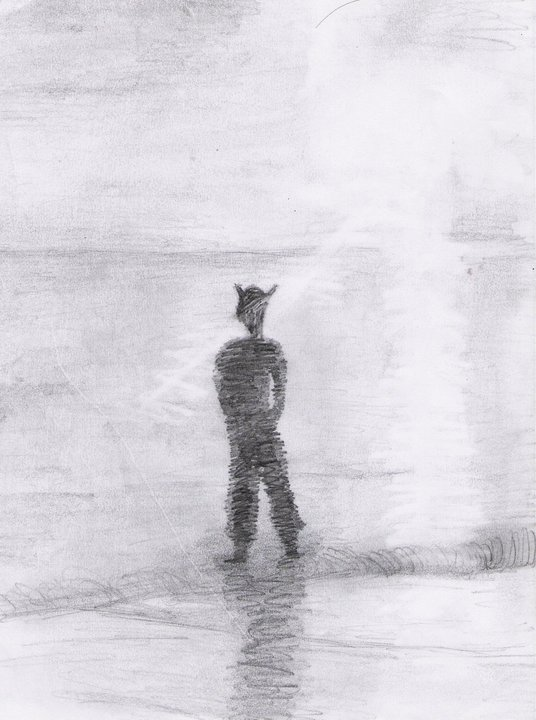 This is what happened when I had a go at figures and landscapes. I ended up with a dark scribble of a figure, rough sunlight drawn using a rubber and smudges everywhere. But hey - at least I tried.