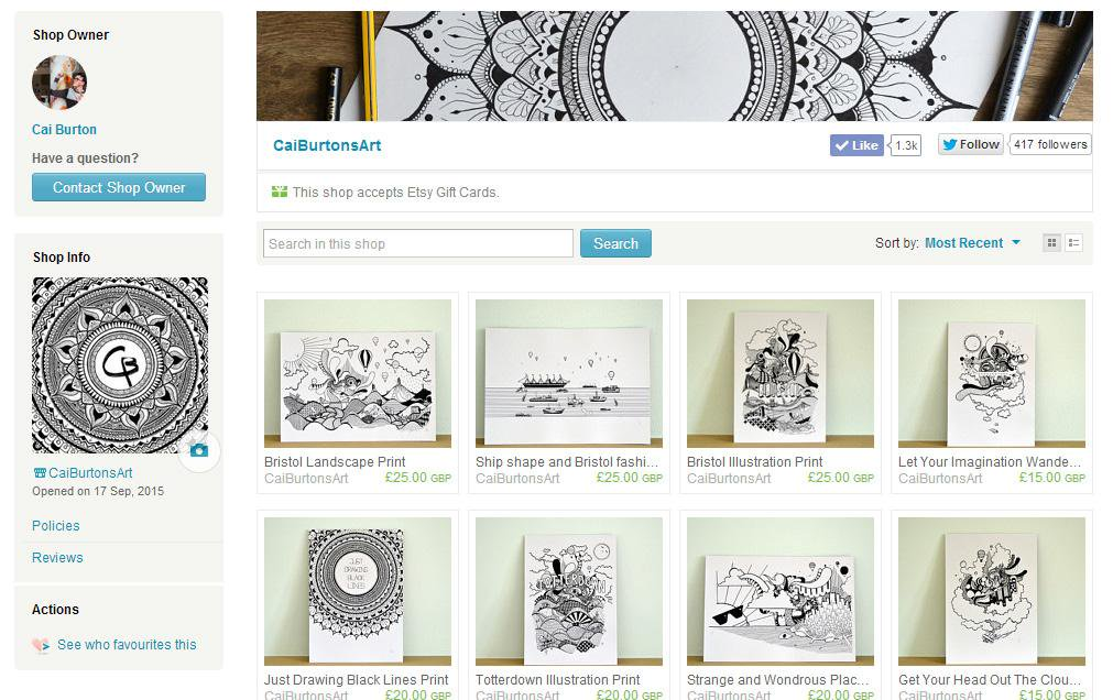 I use Etsy to sell my work online - it's so simple to set a store up there.