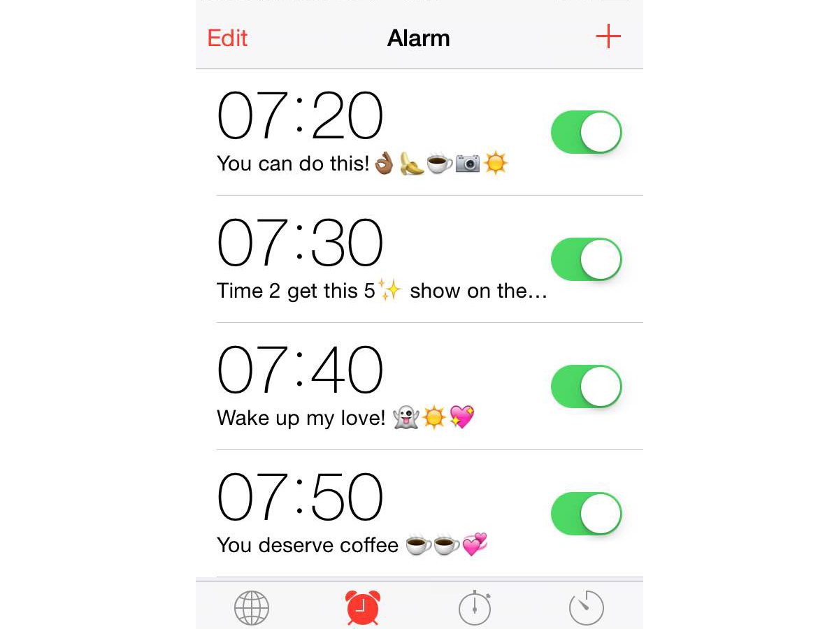 some examples of notes I write myself in my alarms. I'm so cute.