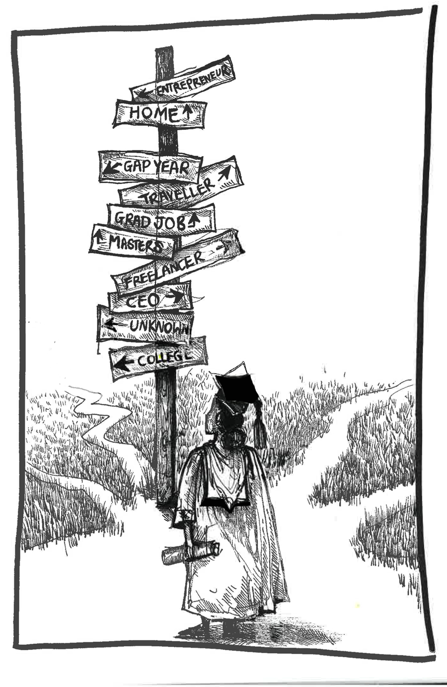 """Crossroads"" -Illustration by Jasmine Thompson"