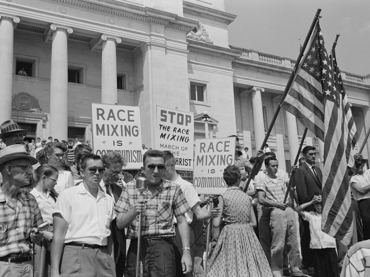 Taken from a protest against integration in Little Rock, USA