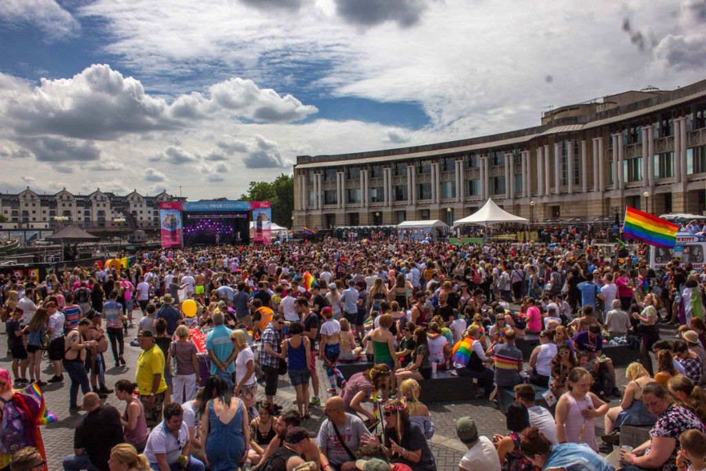 This year Bristol Pride drew a larger crowd than ever with thousands attending. Here is a picture of the crowd at the mainstage.